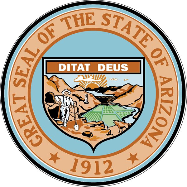 The state seal of Arizona, color version